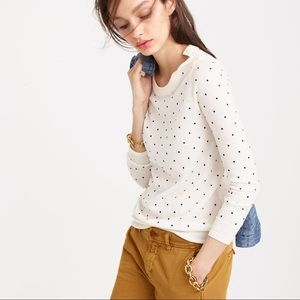 J. Crew Polka Dot Tippi Sweater Shoulder Buttons